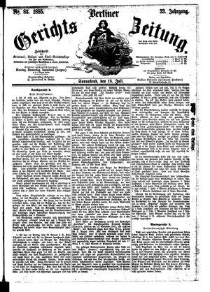 Berliner Gerichts-Zeitung vom 18.07.1885