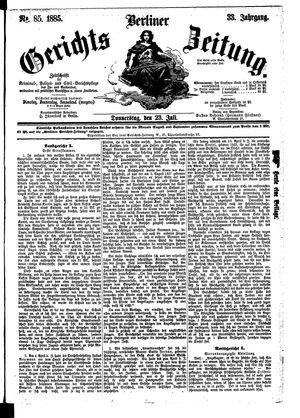 Berliner Gerichts-Zeitung vom 23.07.1885