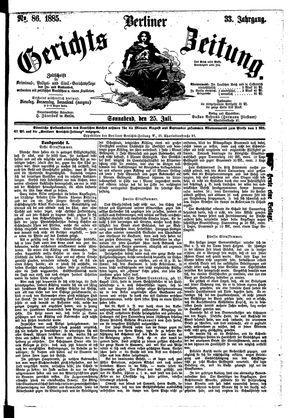 Berliner Gerichts-Zeitung vom 25.07.1885