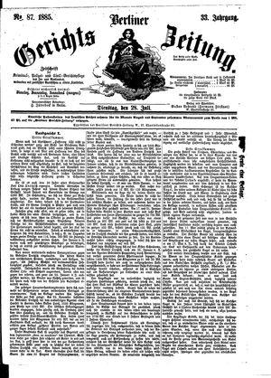 Berliner Gerichts-Zeitung vom 28.07.1885