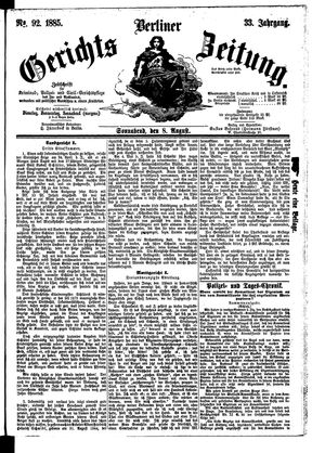Berliner Gerichts-Zeitung vom 08.08.1885