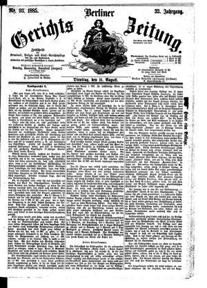 Berliner Gerichts-Zeitung vom 11.08.1885