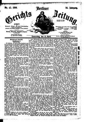 Berliner Gerichts-Zeitung vom 15.04.1886
