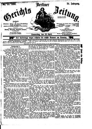 Berliner Gerichts-Zeitung vom 22.04.1886