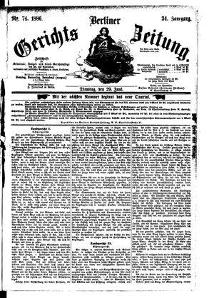 Berliner Gerichts-Zeitung vom 29.06.1886