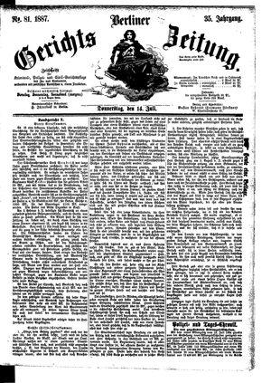 Berliner Gerichts-Zeitung vom 14.07.1887