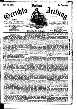 Berliner Gerichts-Zeitung vom 11.08.1887