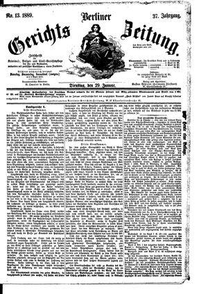 Berliner Gerichts-Zeitung vom 29.01.1889