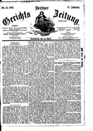 Berliner Gerichts-Zeitung vom 13.04.1889