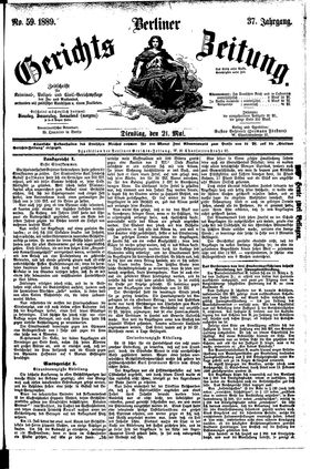 Berliner Gerichts-Zeitung vom 21.05.1889