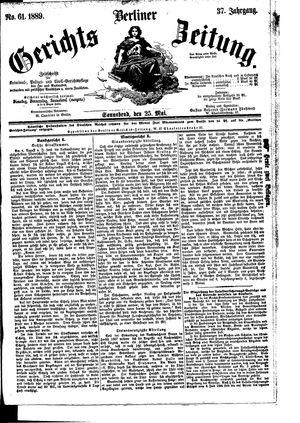 Berliner Gerichts-Zeitung vom 25.05.1889