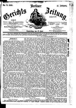 Berliner Gerichts-Zeitung vom 27.06.1889
