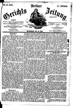 Berliner Gerichts-Zeitung vom 13.07.1889