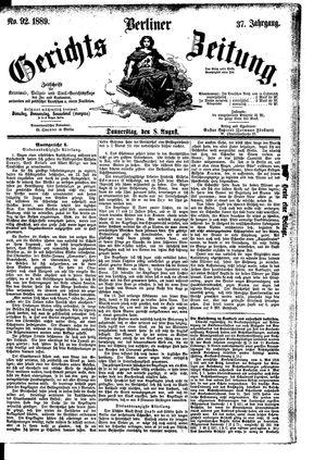 Berliner Gerichts-Zeitung vom 08.08.1889