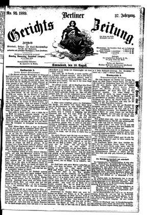 Berliner Gerichts-Zeitung vom 10.08.1889