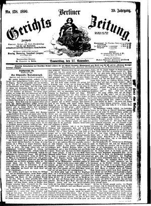 Berliner Gerichts-Zeitung vom 27.11.1890