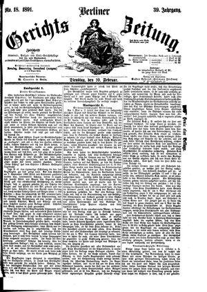 Berliner Gerichts-Zeitung vom 10.02.1891