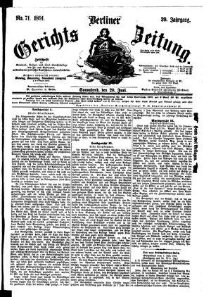Berliner Gerichts-Zeitung vom 20.06.1891