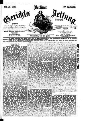 Berliner Gerichts-Zeitung vom 25.06.1891