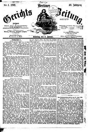 Berliner Gerichts-Zeitung vom 03.01.1892