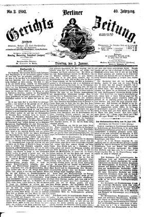 Berliner Gerichts-Zeitung vom 05.01.1892