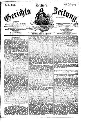 Berliner Gerichts-Zeitung vom 12.01.1892