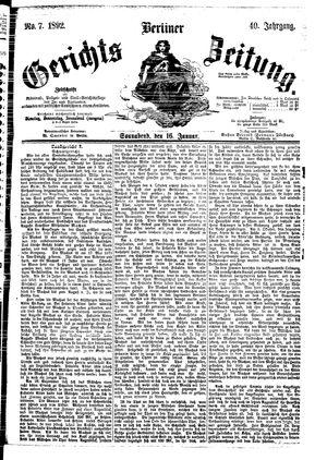 Berliner Gerichts-Zeitung vom 16.01.1892
