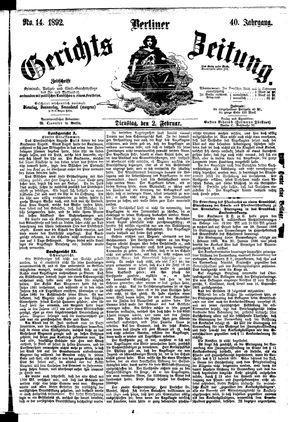 Berliner Gerichts-Zeitung vom 02.02.1892