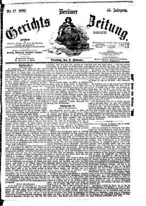 Berliner Gerichts-Zeitung vom 09.02.1892