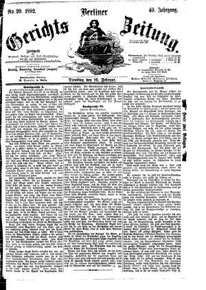 Berliner Gerichts-Zeitung vom 16.02.1892