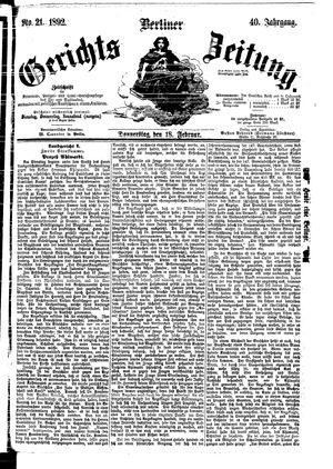 Berliner Gerichts-Zeitung vom 18.02.1892