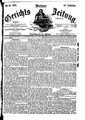 Berliner Gerichts-Zeitung vom 25.02.1892