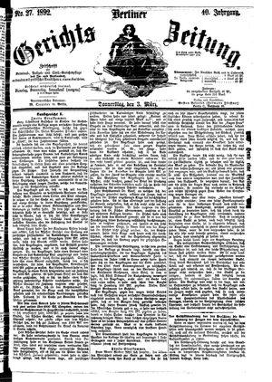 Berliner Gerichts-Zeitung vom 03.03.1892