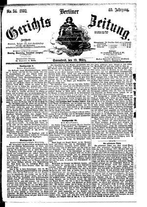 Berliner Gerichts-Zeitung vom 19.03.1892