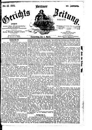 Berliner Gerichts-Zeitung vom 07.04.1892