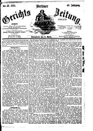 Berliner Gerichts-Zeitung vom 09.04.1892