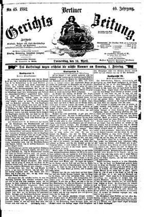 Berliner Gerichts-Zeitung vom 14.04.1892