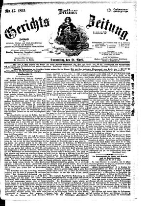 Berliner Gerichts-Zeitung vom 21.04.1892