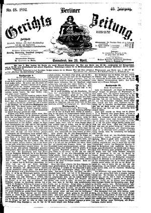 Berliner Gerichts-Zeitung on Apr 23, 1892