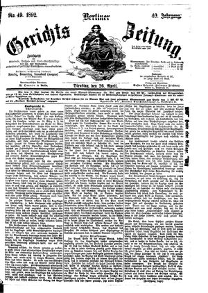 Berliner Gerichts-Zeitung vom 26.04.1892