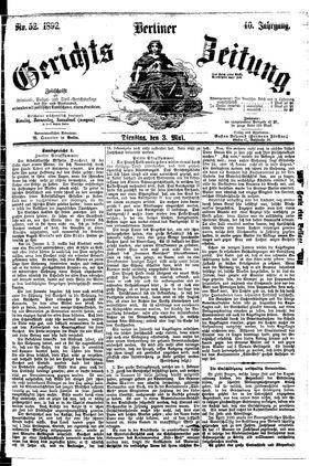 Berliner Gerichts-Zeitung vom 03.05.1892