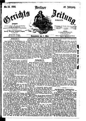 Berliner Gerichts-Zeitung vom 07.05.1892