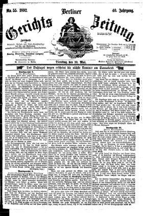 Berliner Gerichts-Zeitung on May 10, 1892