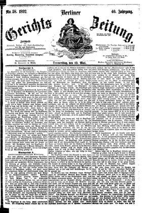 Berliner Gerichts-Zeitung vom 19.05.1892