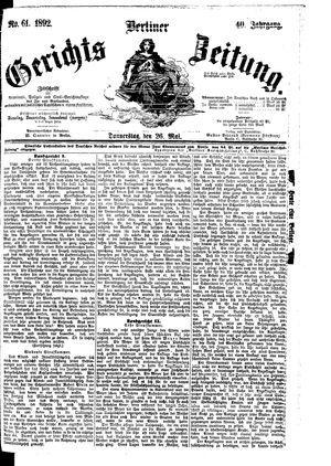 Berliner Gerichts-Zeitung vom 26.05.1892