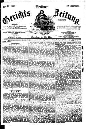Berliner Gerichts-Zeitung vom 28.05.1892