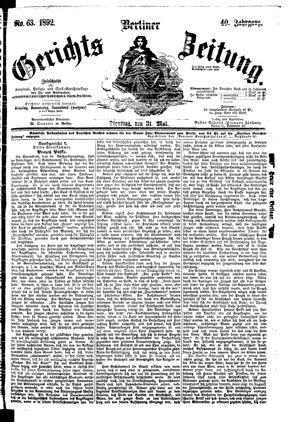 Berliner Gerichts-Zeitung on May 31, 1892