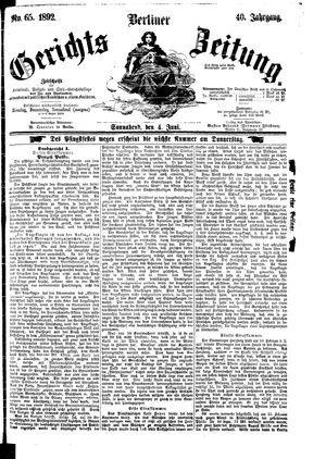 Berliner Gerichts-Zeitung vom 04.06.1892