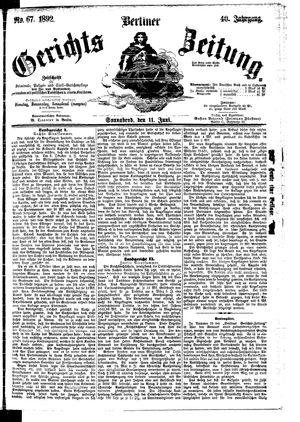 Berliner Gerichts-Zeitung vom 11.06.1892