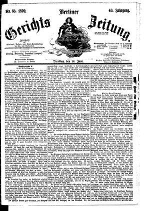 Berliner Gerichts-Zeitung vom 14.06.1892